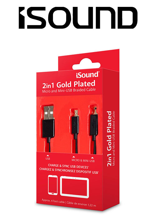 ISOUND 2IN1 GOLD PLATED MICRO & MINI USB CABLE